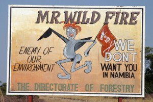 Road signs in Namibia to discourage Wild fires