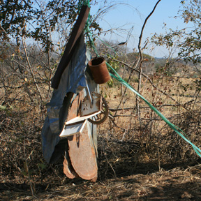 A farmer's creative noisemaker to deter elephants